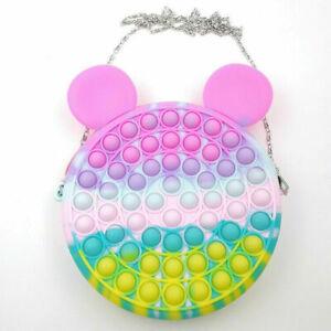Fidget Sensory Bag Popit Bubble Toys  Coin Purse Wallet Girls Gift - Mickey
