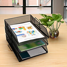 1 PCS Metal Mesh Desktop File Organizer Tray Office Supply Storage Holder Desk