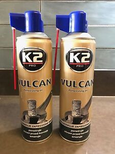 2x K2 VULCAN Release Spray Corroded Rusted Bolt Nuts Screw Penetrating Oil 500ml