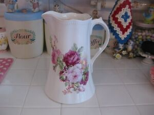 Beautiful Vintage Sterling Porcelain Pitcher With Pink Roses And Gold Trim