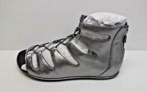 Kenneth Cole New York Size 8 Silver Leather Gladiator Sandals New Womens Shoes