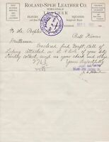 U.S. ROLAND-SPEH Leather Co. Wichita Kans.1910 Wholesale Paid Invoice  Ref 43570