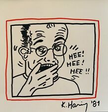 """Keith Haring Drawing """"Self Portrait"""" ink on Paper"""