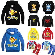 Pokemon Go Pikachu Kids Boy Hooded Top Pullover Hoodie Shirts Pants Outfits New
