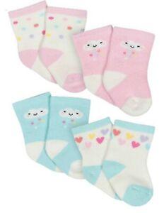 Gerber Baby Girl Socks Stay On ~ Wiggle Proof ~ Newborn ~ Pink Cloud ~ 4 Pack
