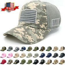 Baseball Cap Mens Tactical Army Cotton Military Dad Hat USA American Flag Mesh