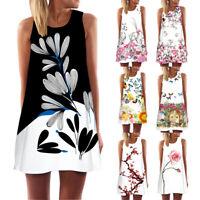 Vintage Boho Women Dress Summer Sleeveless Beach Dress Floral Printed Mini Dress