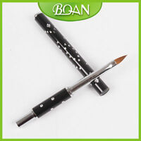 1Pc Nail Art Brush with Rhinestone on Metal Handle Oval Kolinsky Nail Brush 2#