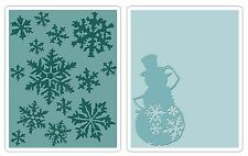 Sizzix Snow Flurries & Snowman Emboss 2pk set #656944 Retail $10.99 Tim Holtz!!!
