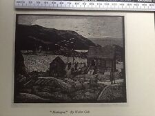 1940s Woodcut Print Monhegan by Walter Cole