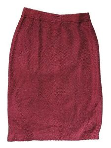 St John Evening Raspberry Metallic Pencil Skirt 2