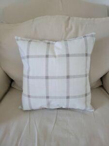 White and Gray Window Pane Plaid Print Cotton Slub Pillow Cover - Various Sizes