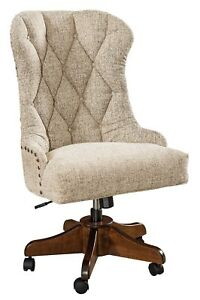 Amish Upholstered Office Desk Chair Solid Wood Gas Lift Rolling Tufted