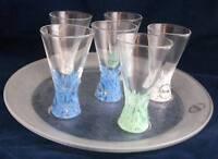 Dansk Crystal SPA 6 Cordials Glass Spatter Blue White Green Bases & Tray Set NIB