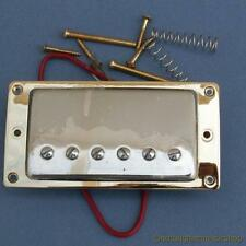 CHROME HUMBUCKER GUITAR PICKUP WITH GOLD PLATED METAL SURROUND HUMBUCKING NEW