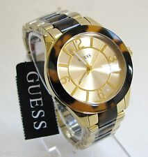 NEW-GUESS GOLD TONE S/STEEL+TORTOISE SHELL BAND, GOLD DIAL WOMENS WATCH-W0014L1