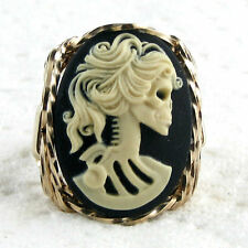 Lolita Lady Skeleton Cameo Ring 14K Rolled Gold Jewelry Black Resin Size Select