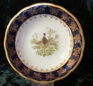 Suppenteller~Manufaktur Leander 1946~echt Kobalt~Goldauflage~Vogelmotiv