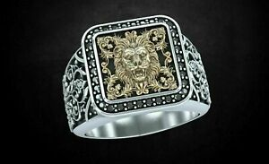 Patterns & Lion Oxidized Stylish Men's Ring Yellow Gold FN 925 Sterling Silver