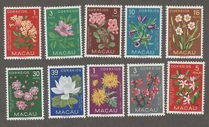MACAU 1953 FLOWER SET MINT HINGED SCOTT 372-381