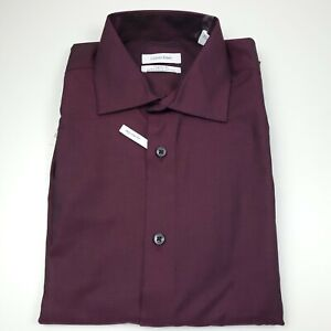 Calvin Klein Steel + Dress Shirt Mens Medium 15 - 34/35 Slim Fit Bordeaux Red
