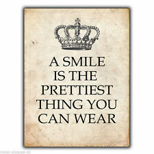 METAL SIGN WALL PLAQUE - A SMILE IS THE PRETTIEST THING YOU CAN WEAR Quote art