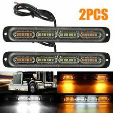 2PC Amber /White 24LED Car Truck Emergency Warning Hazard Flash Strobe Light Bar