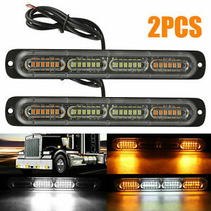 2PC Amber /White 24LED Car Truck Emergency Warning Hazard Flash Strobe Light Bar