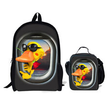 3D Yellow Duck Backpack For Kids Boy s Girls School Satchel Picnic Lunch Bag  Set 7f2e95ab6a489