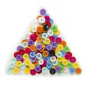 100pcs Round Resin Buttons for Sewing Scrapbooking Cloth Home Crafts Decor 11mm