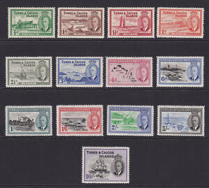 Turks & Caicos. 1950. SG 221-233, 1/2d to 10/-. Fine mounted mint.