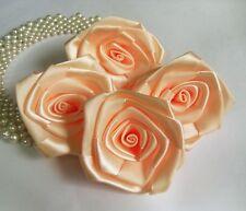 "3"" Peach Satin Ribbon Roses Large Flower Diy-Lots 10 Pcs (R0024P)"