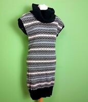 MINT VELVET Jumper Dress UK 10 Fair Isle Roll Neck Cap Sleeve Knee Length Knit