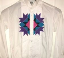 Vtg SOUTHWESTERN DRESS SHIRT Rare TUXEDO Formal AZTEC Navajo AMERICAN INDIAN Tux