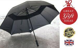 New Unisex Drizzle Automatic Black Large Premium Golf Windproof Vented Umbrella