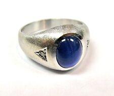 14k White Gold Genuine Men's Solitaire Star Sapphire & Diamond Dome Design Ring