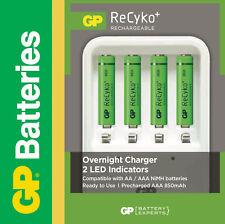 GP Rundzellen-Ladegerät für AA / AAA Accus inkl. 4 x AAA Micro 850 mAh ReCyko+