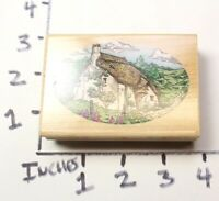 Wooden RUBBER STAMP Block Background For Cards - Victorian Cottage House Home