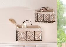SET of 2 RUSTIC METAL WIRE WALL HANGING STORAGE BASKETS FABRIC LINING HOME DECOR