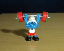 Smurfs 20737 Weightlifter Smurf Hefty Olympic Figure Vintage PVC Toy Figurine