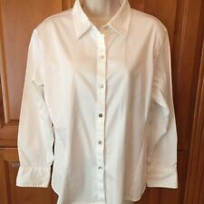 Chicos 3 White Fitted Blouse Top Button Front Long Sleeve Cotton Spandex