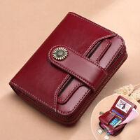Ladies Women's Genuine Leather RFID Blocking Wallet Bifold Clutch Card Purse Bag