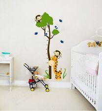 Monkey Giraffe Tree Height Measure Removable Wall Sticker Kid Child Room Decor