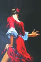 ZOPT743  100% hand painted red dress dancing girl art OIL PAINTING on CANVAS