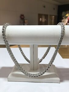 925 REAL Sterling Silver CZ Square Design Mens Chain and Bracelet With ALL SIZES