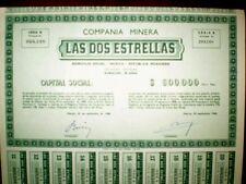 Mexico,Compañia Minera Las Dos Estrellas 1948 Share Certificate