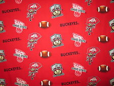 OHIO STATE UNIVERSITY BUCKEYES OSU RED COTTON FABRIC FQ