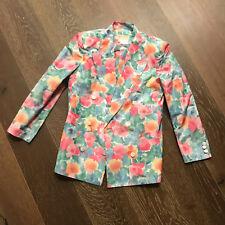 Vintage Gucci Italian Pink Green Blue Orange Floral Print Blazer Jacket Size 40