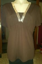 WOMENS Sz XL brown KATIES tunic LOVELY NECKLINE! SEQUINS!