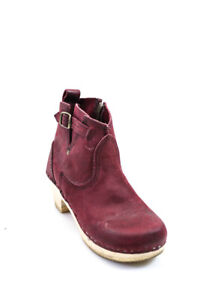 No 6 Womens Suede Zip Up Ankle Booties Wine Red Size 37 7